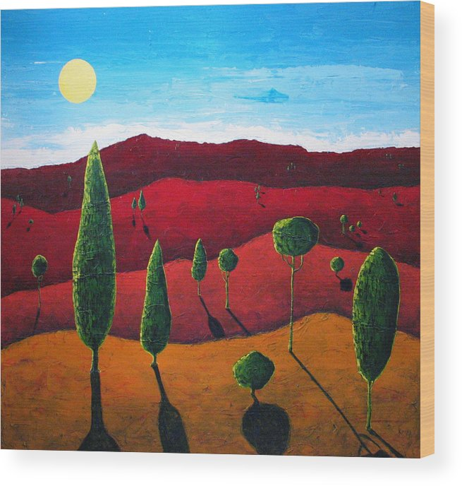 Landscape Wood Print featuring the painting Hills of Red III by Rollin Kocsis