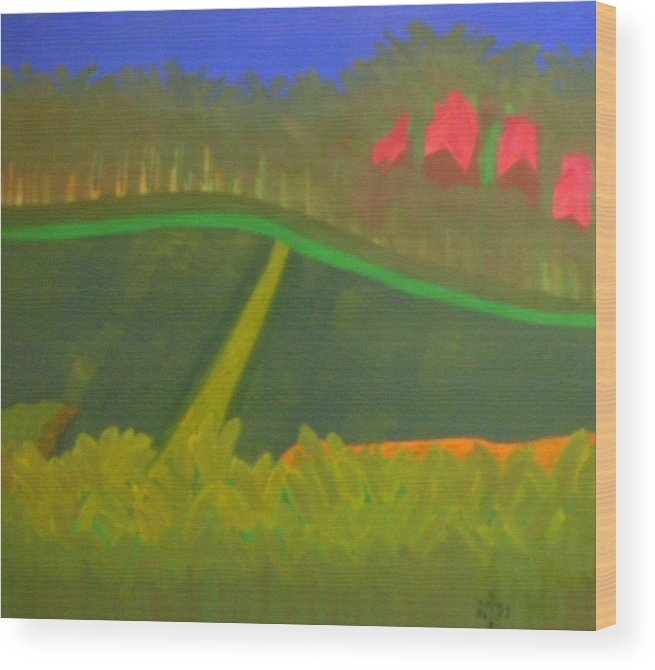 Landscape Wood Print featuring the painting No.166 by Vijayan Kannampilly