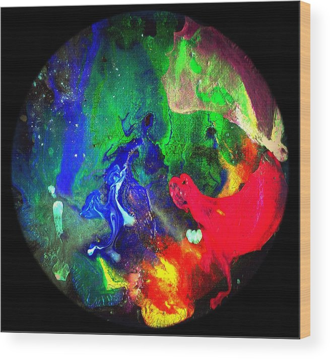 Round Wood Print featuring the painting Abstract - Evolution Series 1002 by Dina Sierra