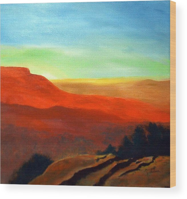 Landscape Wood Print featuring the painting Anew by Julie Lamons