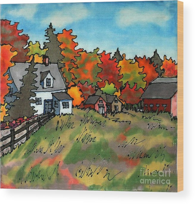 Fall Wood Print featuring the painting Autumn Farmstead Silk Painting by Linda Marcille