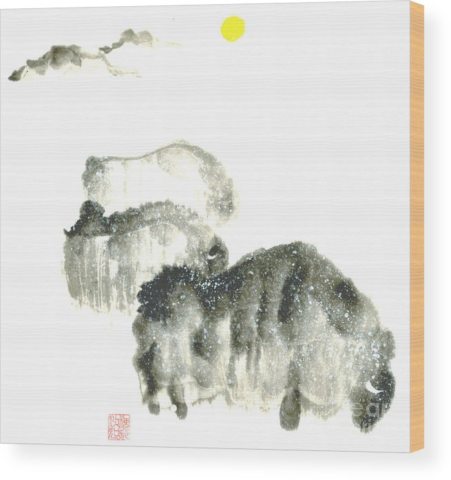 A Herd Of Bison Grazing In Snow. This Is A Contemporary Chinese Ink And Color On Rice Paper Painting With Simple Zen Style Brush Strokes.  Wood Print featuring the painting Bison In Snow II by Mui-Joo Wee