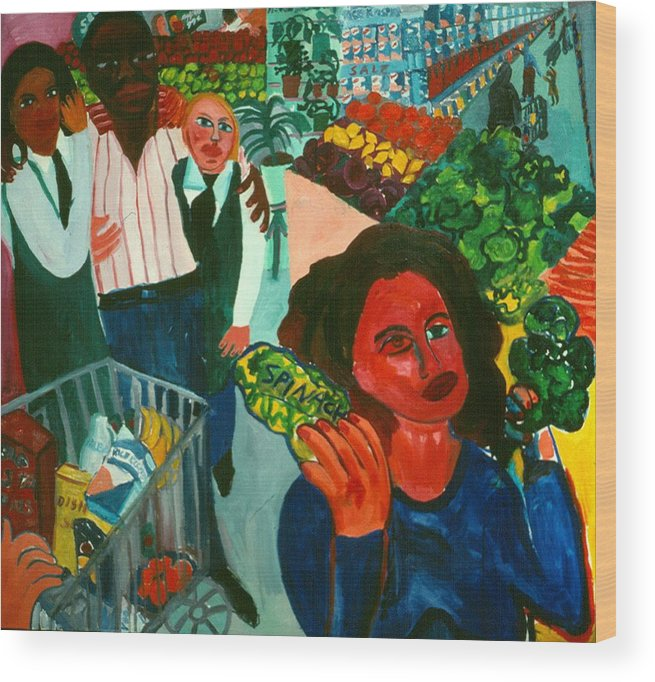 Self-portait In Urban Supermarket Wood Print featuring the painting Broccoli or Spinach by Nina Talbot