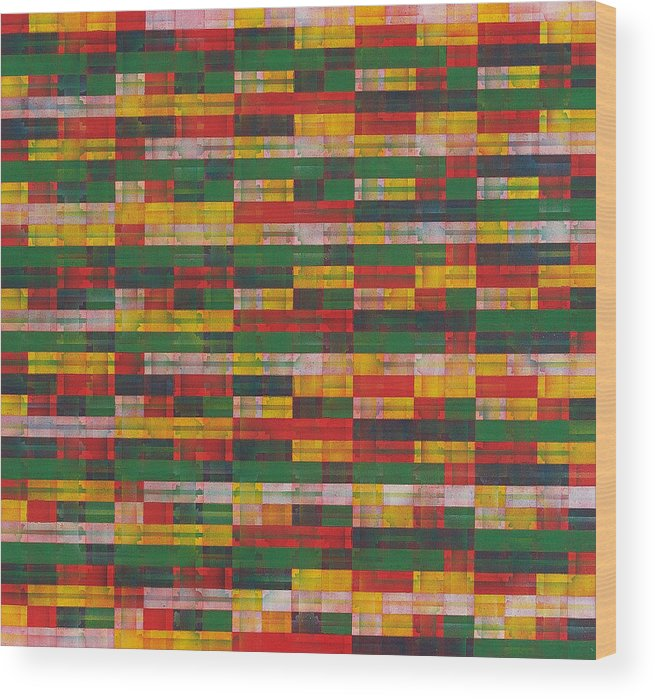 Abstract Pattern Green Red Yellow White Wood Print featuring the painting Fac5-horizontal by Joan De Bot