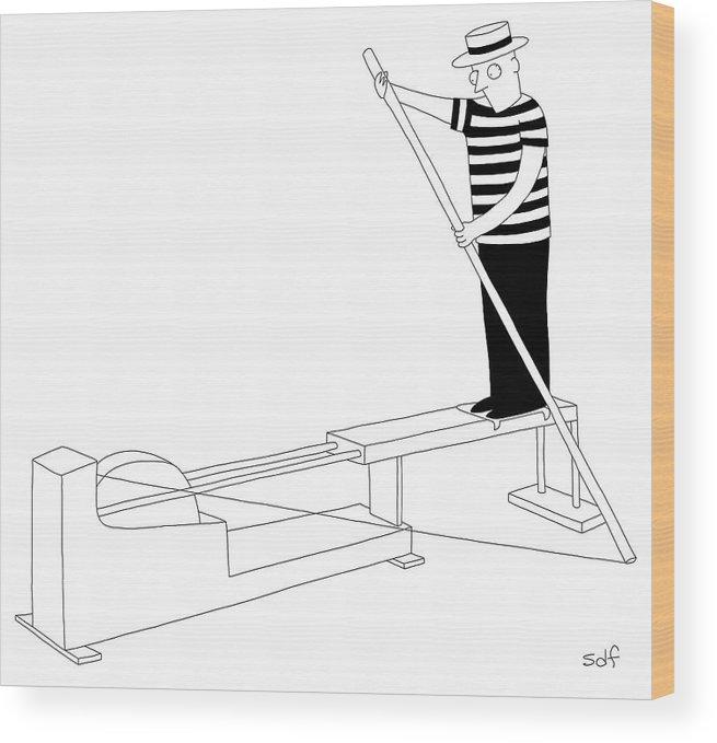 Gondola Wood Print featuring the drawing Gondola Machine by Seth Fleishman