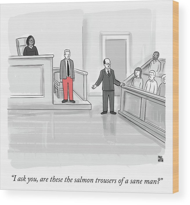 """i Ask You Wood Print featuring the drawing I ask you by Paul Noth"