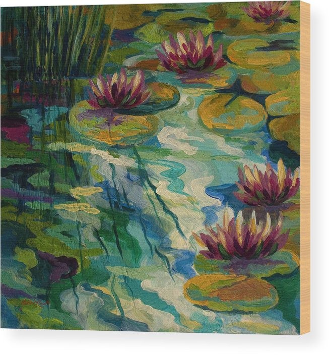 Water Lily Wood Print featuring the painting Lily Pond II by Marion Rose
