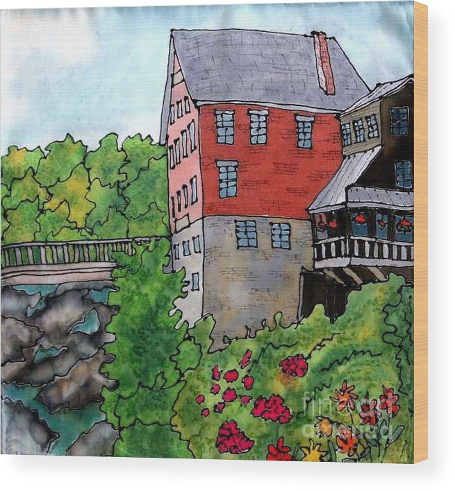 Old Mill Wood Print featuring the painting Old Mill in Bradford by Linda Marcille