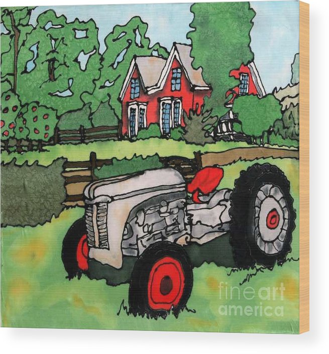 Silk Wood Print featuring the painting Red House and Tractor by Linda Marcille