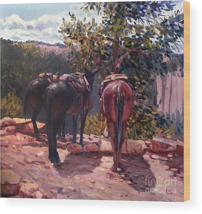 Mules Wood Print featuring the painting Resting on the Kaibab Trail by Donald Maier
