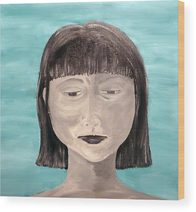 Portrait Wood Print featuring the painting Sadness by Jennifer Hernandez