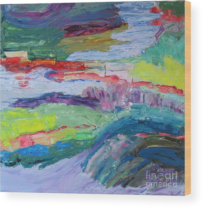 Landscape Wood Print featuring the painting Shoreline by Judith Espinoza