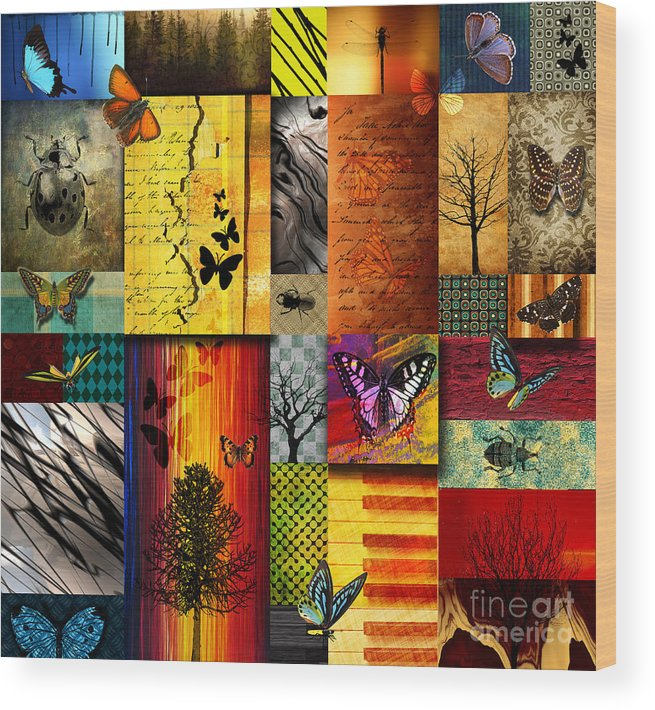Alpine Wood Print featuring the painting The Butterfly effect by Ramneek Narang