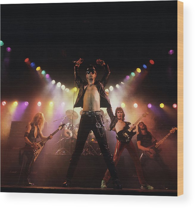 People Wood Print featuring the photograph Judas Priest Album Cover Shoot by Fin Costello