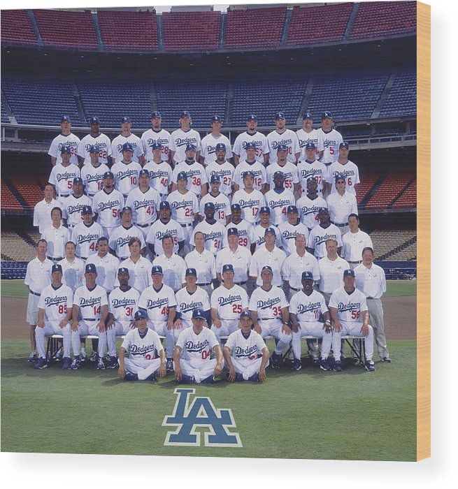 California Wood Print featuring the photograph 2004 Los Angeles Dodgers Team Photo by Mlb Photos