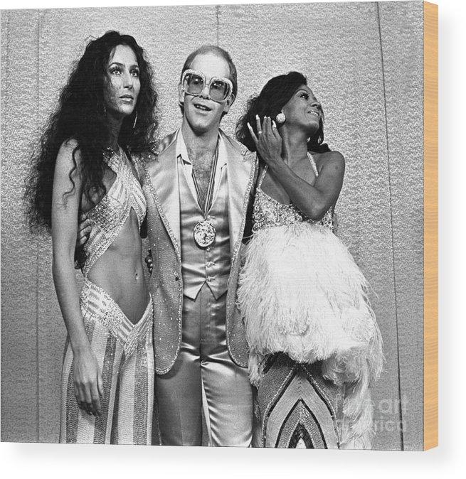 Cher Wood Print featuring the photograph Mark Sullivan 70s Rock Archive by Mark Sullivan