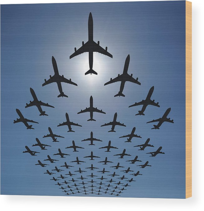 Expertise Wood Print featuring the photograph Airplane Silhouettes Fly In V Formation by Georgo
