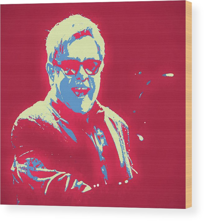 Elton John Pop Art Wood Print featuring the painting Elton John Pop Art by Dan Sproul