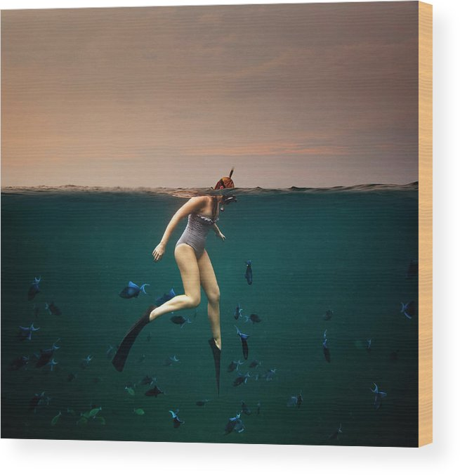 People Wood Print featuring the photograph Girl Snorkelling by Rjw
