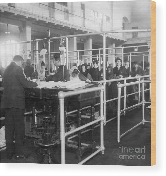 Crowd Of People Wood Print featuring the photograph Immigrants Having Papers Checked by Bettmann