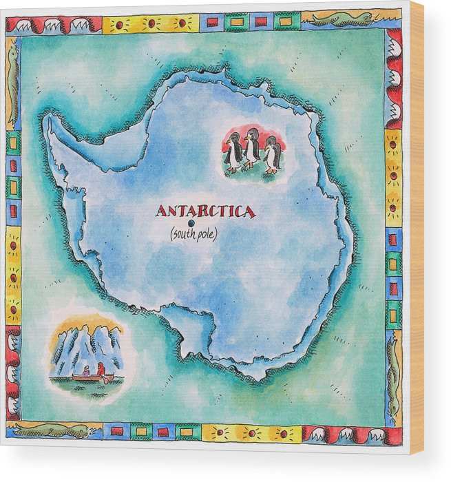 Watercolor Painting Wood Print featuring the digital art Map Of Antarctica by Jennifer Thermes