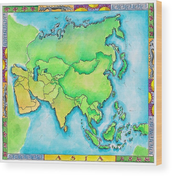Watercolor Painting Wood Print featuring the digital art Map Of Asia by Jennifer Thermes