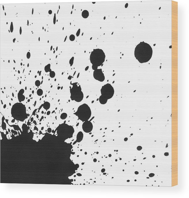 Art Wood Print featuring the photograph Splattered Black Paint On White Canvas by Kevinruss