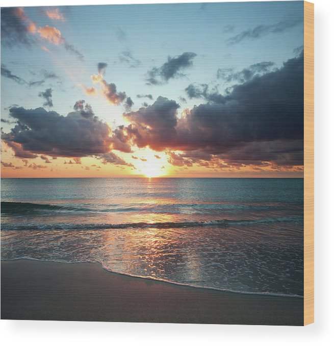 Scenics Wood Print featuring the photograph Sunrise In Miami by Tovfla
