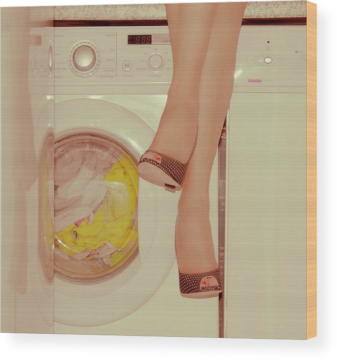 Laundromat Wood Print featuring the photograph Vintage Laundry by © Angie Ravelo Photography