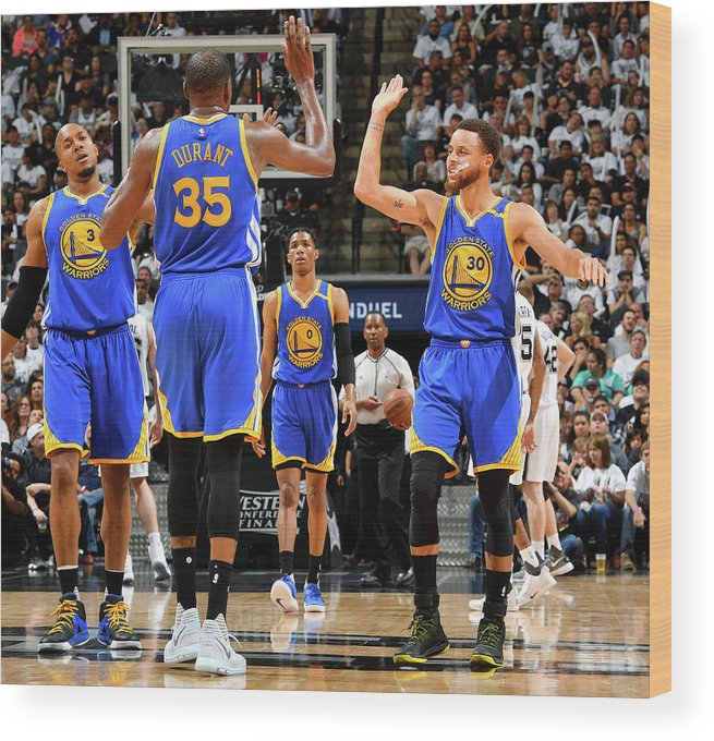 Playoffs Wood Print featuring the photograph Stephen Curry and Kevin Durant by Jesse D. Garrabrant