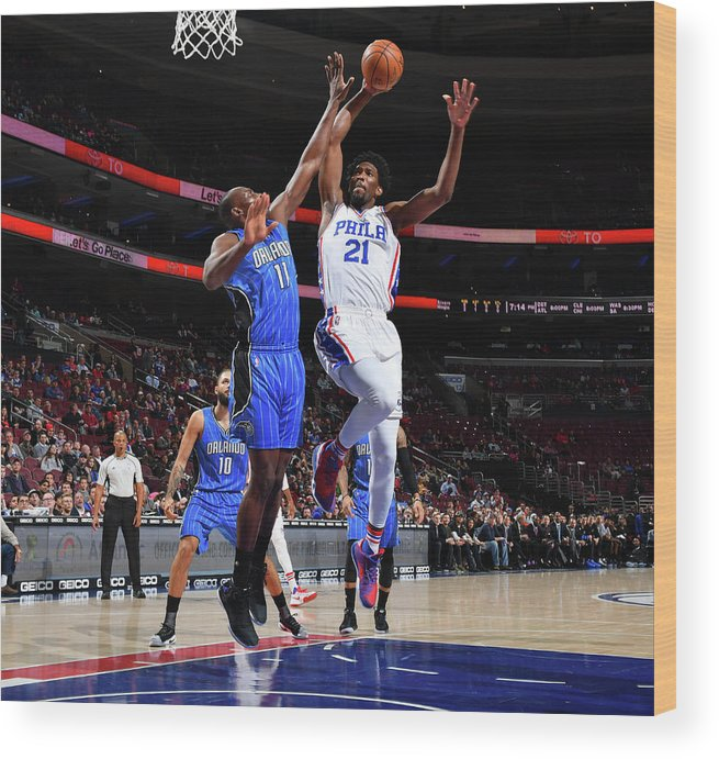 Nba Pro Basketball Wood Print featuring the photograph Joel Embiid by Jesse D. Garrabrant