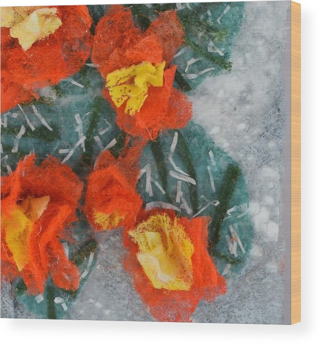 Dryer Sheets Wood Print featuring the mixed media Cactus Flowers by Charla Van Vlack