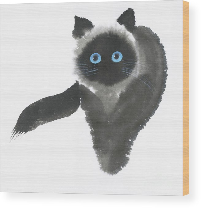 A Dignified Cat With Clear Eyes Is Starring Straight Ahead Intensely. It's A Contemporary Chinese Brush Painting On Rice Paper.  Wood Print featuring the painting Clear-Eye by Mui-Joo Wee