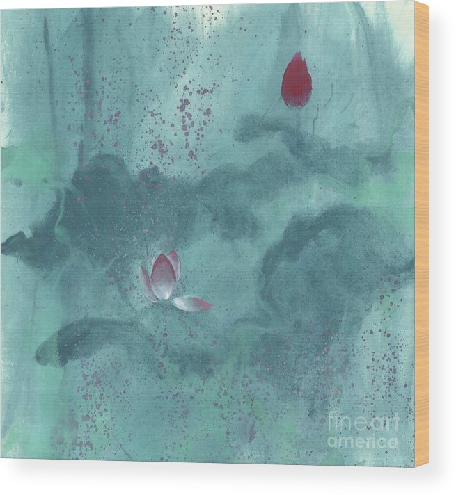 Emerged Out Of The Sludge Wood Print featuring the painting For the Love of Lotus by Mui-Joo Wee