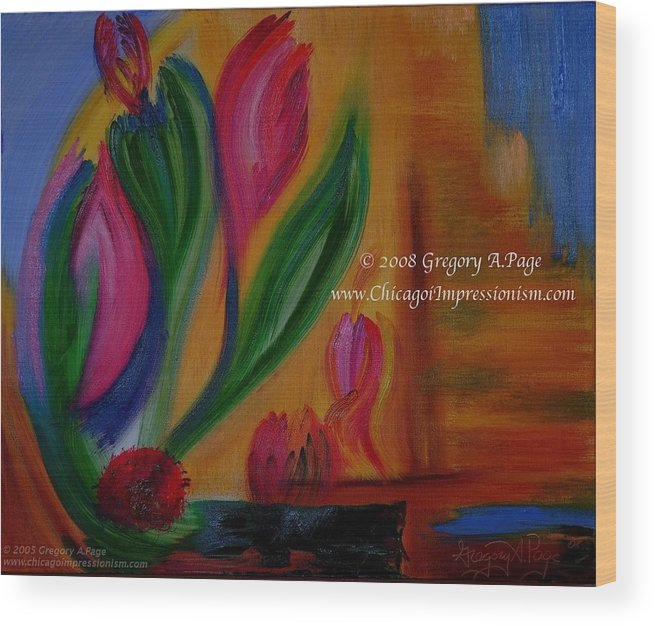 Flower Wood Print featuring the painting Expressionism I by Modern Impressionism
