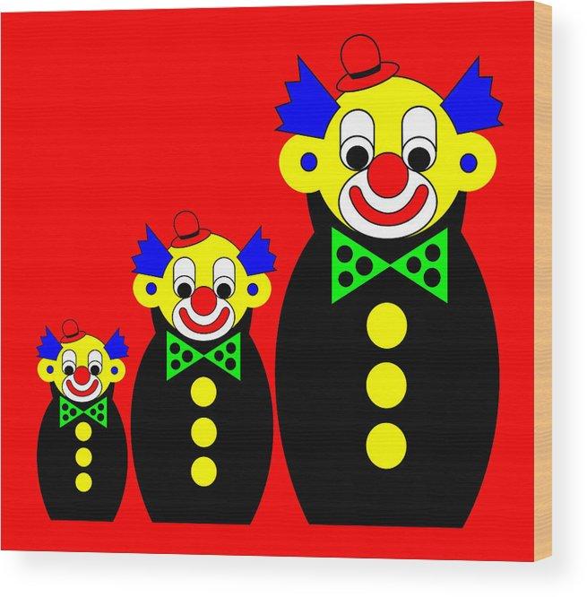 3 Russian Clown Dolls On Red Wood Print featuring the digital art 3 Russian Clown Dolls on red by Asbjorn Lonvig