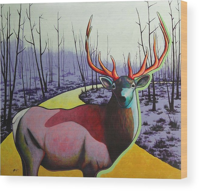 Wildlife In Yellowstone Park Wood Print featuring the painting A Close Encounter in Yellowstone by Joe Triano