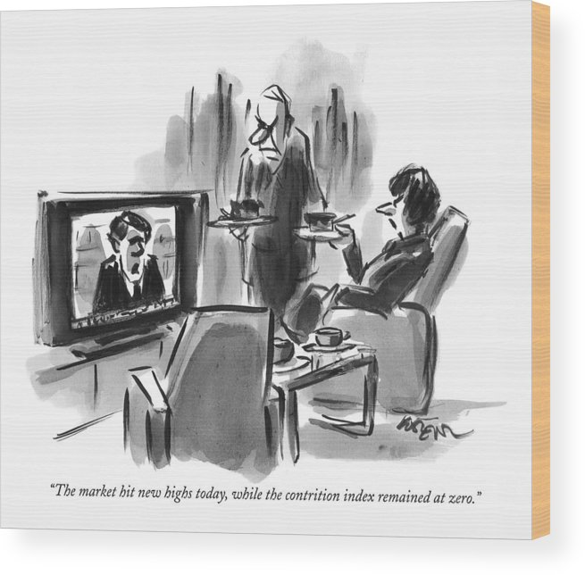 Tv-news Wood Print featuring the drawing A Man And Woman Are Seen In A Living Room by Lee Lorenz