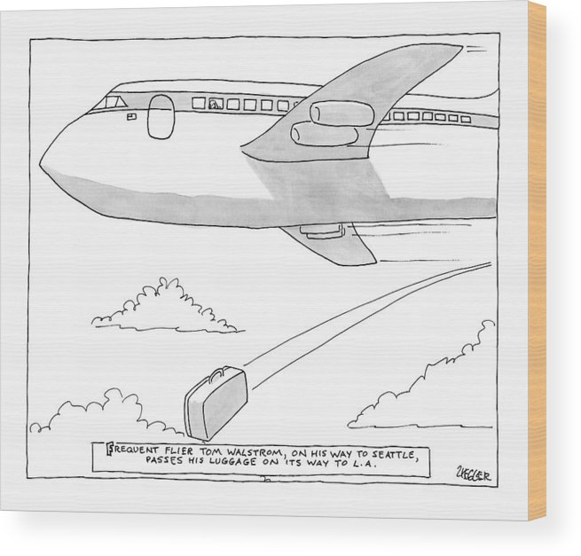 Flying Wood Print featuring the drawing A Man Looks Out The Window Of An Airplane by Jack Ziegler