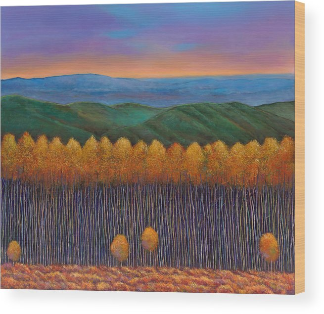 Autumn Aspen Wood Print featuring the painting Aspen Perspective by Johnathan Harris