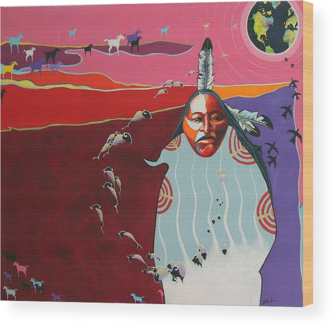 Native American Wood Print featuring the painting Creation by Joe Triano