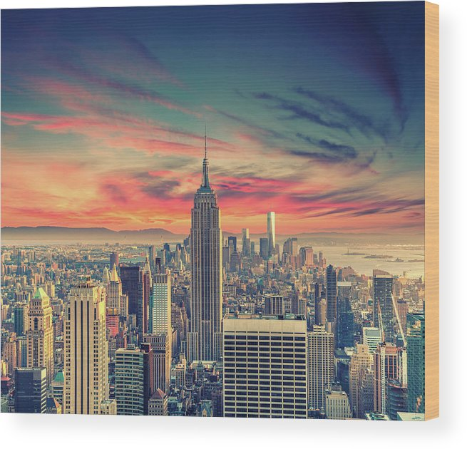 Panoramic Wood Print featuring the photograph Manhattan by Zsolt Hlinka
