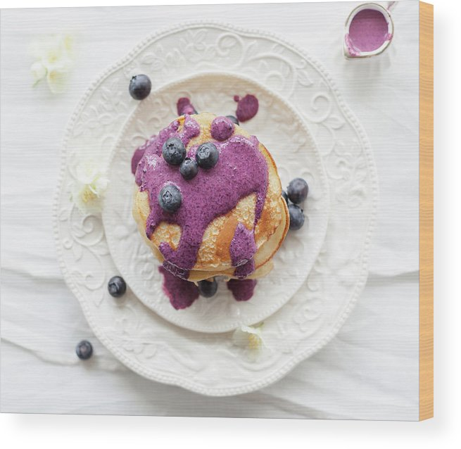 Temptation Wood Print featuring the photograph Pancakes With Blueberry Sauce by Ingwervanille