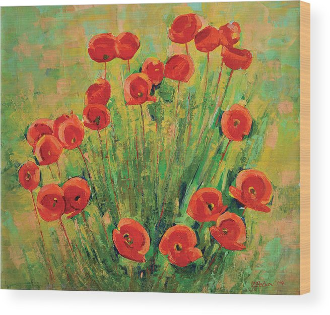 Poppies Wood Print featuring the painting Poppies by Iliyan Bozhanov