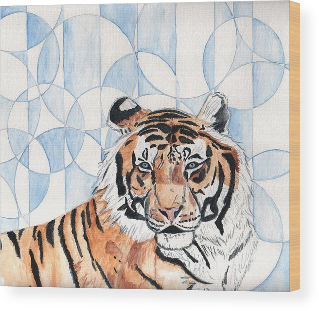 Tiger Wood Print featuring the painting Royal Mysticism by Crystal Hubbard