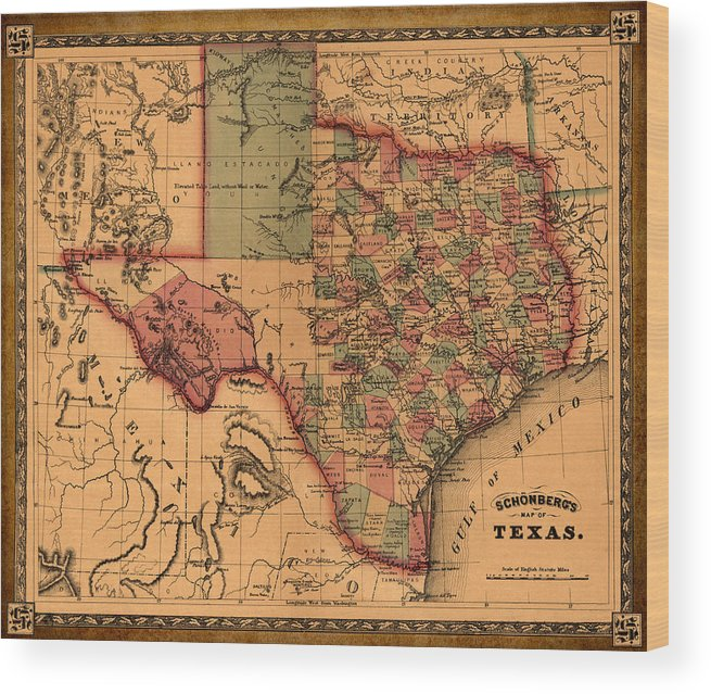 Texas Map Art Vintage Antique Map Of Texas Wood Print By World