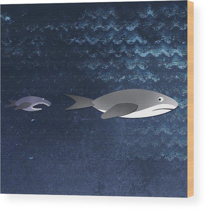 Horizontal Wood Print featuring the digital art A Small Fish Chasing A Shark by Jutta Kuss