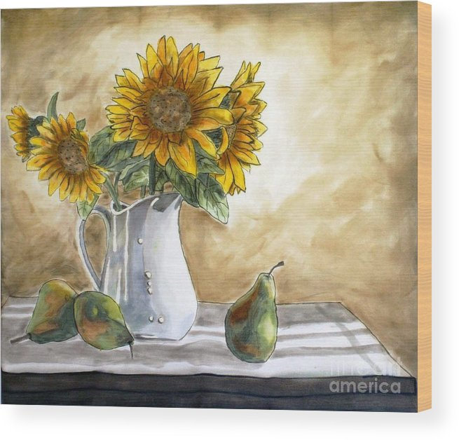 Silk Painting Wood Print featuring the painting Sunflowers and Pears by Linda Marcille