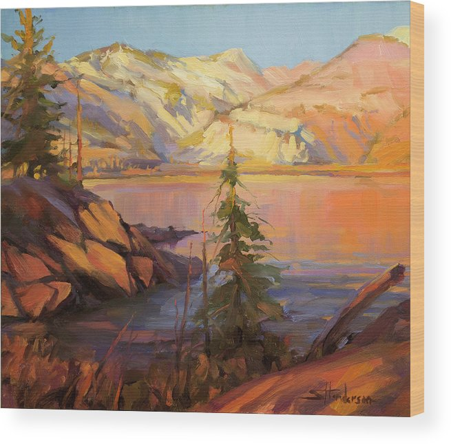 Wilderness Wood Print featuring the painting First Light by Steve Henderson