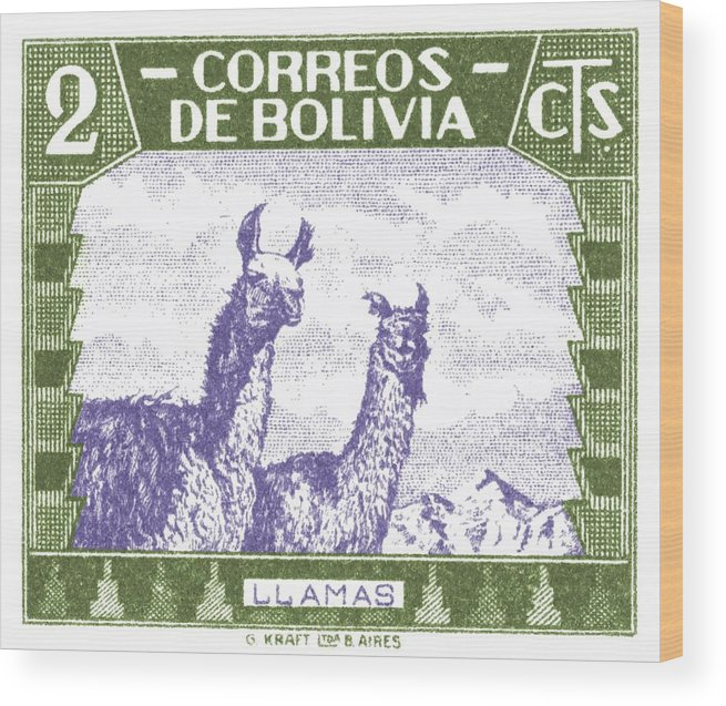 Bolivia Wood Print featuring the digital art 1939 Bolivia Llamas Postage Stamp by Retro Graphics